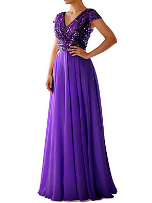 cheap Bridesmaid Dresses-A-Line V Neck Floor Length Chiffon Bridesmaid Dress with Pleats / Sequin / Sparkle & Shine