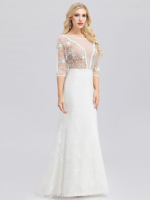 cheap Wedding Dresses-Mermaid / Trumpet Wedding Dresses Jewel Neck Floor Length Lace Tulle 3/4 Length Sleeve Floral Lace Illusion Sleeve with Lace 2020