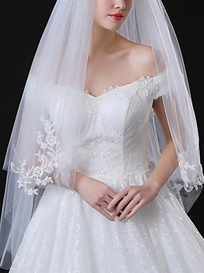 cheap Wedding Veils-Two-tier Classic Style / Lace Wedding Veil Elbow Veils with Solid / Pattern 35.43 in (90cm) POLY / Lace
