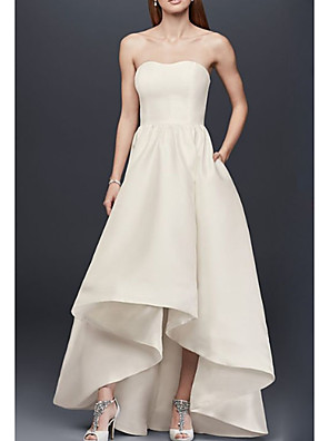 cheap Bridesmaid Dresses-A-Line Strapless Asymmetrical Satin Bridesmaid Dress with Pleats / Open Back