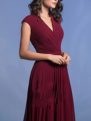 cheap Evening Dresses-A-Line Elegant Formal Evening Dress V Neck Sleeveless Floor Length Chiffon with Pleats 2020