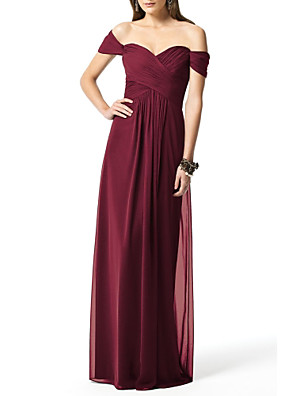 cheap Bridesmaid Dresses-A-Line Off Shoulder Floor Length Chiffon Bridesmaid Dress with Ruching