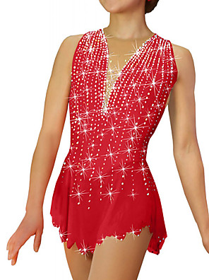 cheap Ice Skating Dresses , Pants & Jackets-Figure Skating Dress Women's Girls' Ice Skating Dress Sky Blue Purple Yellow Spandex High Elasticity Competition Skating Wear Patchwork Crystal / Rhinestone Sleeveless Ice Skating Figure Skating