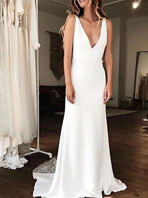 cheap Wedding Dresses-A-Line Wedding Dresses V Neck Court Train Charmeuse Regular Straps with Draping 2020