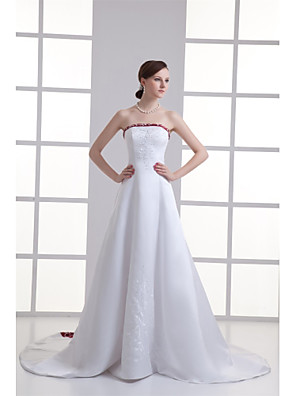 cheap Wedding Dresses-A-Line Wedding Dresses Strapless Chapel Train Satin Strapless Wedding Dress in Color with Beading Embroidery 2020