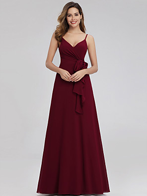cheap Bridesmaid Dresses-A-Line V Neck Floor Length Chiffon Bridesmaid Dress with Ruching