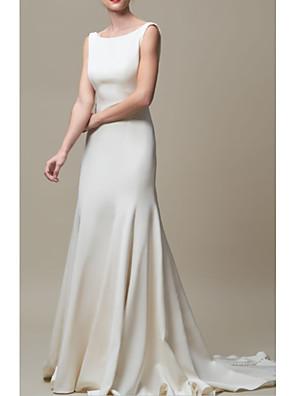 cheap Wedding Dresses-Mermaid / Trumpet Wedding Dresses Jewel Neck Court Train Stretch Satin Regular Straps Elegant with Draping 2020
