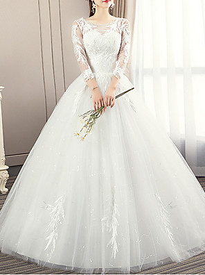cheap Wedding Dresses-Ball Gown Wedding Dresses Jewel Neck Sweep / Brush Train Lace 3/4 Length Sleeve Illusion Sleeve with Lace Insert Appliques 2020