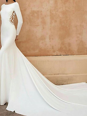 cheap Wedding Dresses-A-Line Mermaid / Trumpet Wedding Dresses Jewel Neck Court Train Lace Stretch Satin Long Sleeve with Embroidery 2020