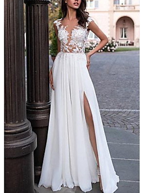 cheap Bridesmaid Dresses-A-Line Wedding Dresses V Neck Sweep / Brush Train Chiffon Lace Cap Sleeve Backless Illusion Sleeve with Lace Insert Split Front 2020