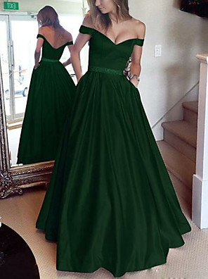 cheap Prom Dresses-A-Line Open Back Prom Formal Evening Dress Off Shoulder Short Sleeve Floor Length Satin with Pleats 2020