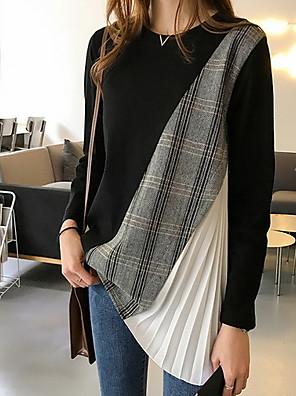 ieftine Bluze Damă-Pentru femei Zilnic Tricou Geometric Manșon Lung Topuri Negru Gri