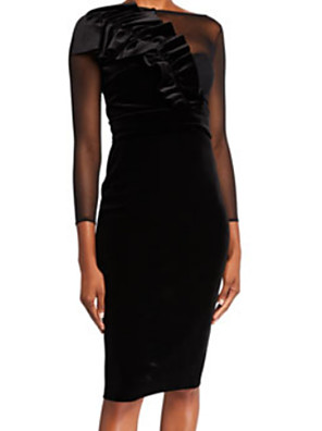 cheap Cocktail Dresses-Sheath / Column Elegant Holiday Cocktail Party Dress Jewel Neck 3/4 Length Sleeve Knee Length Tulle Velvet with Ruched Appliques 2020