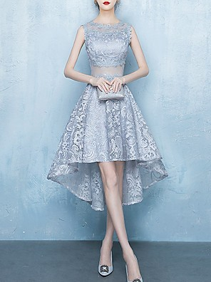 cheap Prom Dresses-A-Line Jewel Neck Asymmetrical Lace Bridesmaid Dress with Lace