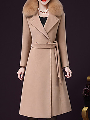cheap Romantic Lace Dresses-Women's Daily Long Coat, Solid Colored Turndown Long Sleeve Wool / Polyester Wine / Purple / Camel
