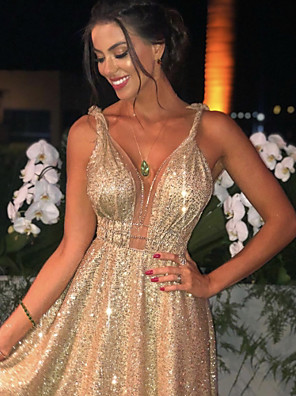 cheap Evening Dresses-A-Line Luxurious Gold Engagement Formal Evening Dress Spaghetti Strap Sleeveless Sweep / Brush Train Stretch Satin Sequined with Sequin 2020