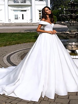 cheap Wedding Dresses-Ball Gown A-Line Wedding Dresses Off Shoulder Cathedral Train Polyester Short Sleeve with 2020