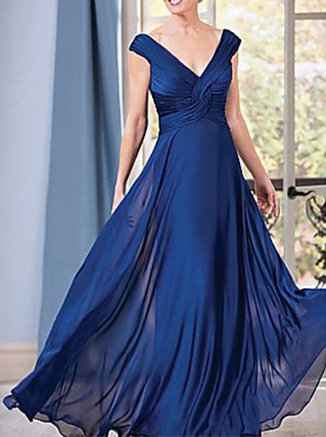 cheap Evening Dresses-A-Line Elegant Formal Evening Dress Plunging Neck Short Sleeve Floor Length Chiffon with Ruched 2020