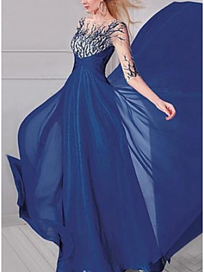 cheap Evening Dresses-A-Line Elegant Formal Evening Dress Boat Neck Half Sleeve Sweep / Brush Train Chiffon with Sequin Appliques 2020