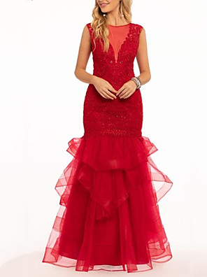 cheap Prom Dresses-A-Line Elegant Formal Evening Dress Jewel Neck Sleeveless Floor Length Lace Tulle with Tier 2020