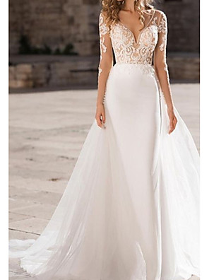 cheap Wedding Dresses-A-Line Wedding Dresses V Neck Court Train Organza Tulle Stretch Satin Long Sleeve Illusion Sleeve with Embroidery 2020