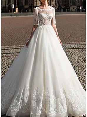 cheap Wedding Dresses-A-Line Wedding Dresses Jewel Neck Floor Length Lace Tulle Half Sleeve Modern with Embroidery Cascading Ruffles 2020