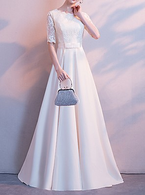 cheap Bridesmaid Dresses-A-Line Jewel Neck Floor Length Polyester Bridesmaid Dress with Lace