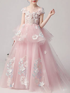 cheap Flower Girl Dresses-Ball Gown Floor Length Pageant Flower Girl Dresses - Tulle Short Sleeve Spaghetti Strap with Appliques / Cascading Ruffles