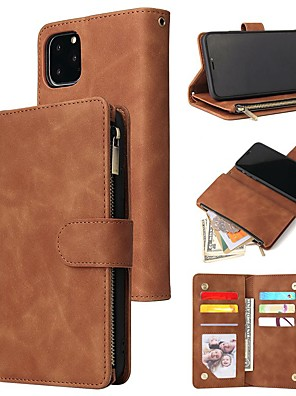 cheap iPhone Cases-Case For Apple iPhone 11 / iPhone 11 Pro / iPhone 11 Pro Max Wallet / Card Holder / Shockproof Full Body Cases Solid Colored PU Leather / TPU