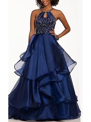 cheap Prom Dresses-A-Line Open Back Prom Dress Halter Neck Sleeveless Floor Length Satin with Beading Sequin Cascading Ruffles 2020