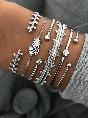 cheap Quartz Watches-6pcs Women's Crystal Bracelet Bangles Cuff Bracelet Silver Bracelets Classic Leaf Pineapple Wave Statement Punk European Trendy Fashion Rhinestone Bracelet Jewelry Silver For Party Gift Carnival