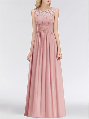 cheap Prom Dresses-A-Line Jewel Neck Floor Length Chiffon Bridesmaid Dress with Lace / Pleats