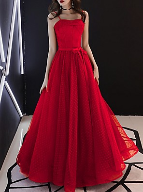 cheap Prom Dresses-A-Line Elegant Red Prom Formal Evening Dress Spaghetti Strap Sleeveless Floor Length Tulle with Bow(s) 2020