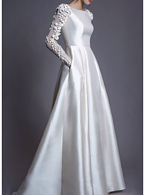 cheap Wedding Dresses-A-Line Wedding Dresses Jewel Neck Floor Length Lace Charmeuse Long Sleeve Simple Modern with Lace Draping Appliques 2020
