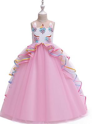 cheap Girls' Dresses-Kids Girls' Color Block Sleeveless Midi Dress Purple
