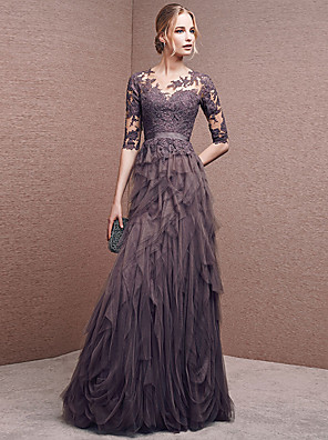 cheap Evening Dresses-A-Line Empire Grey Wedding Guest Formal Evening Dress Illusion Neck Half Sleeve Floor Length Lace Tulle with Appliques 2020