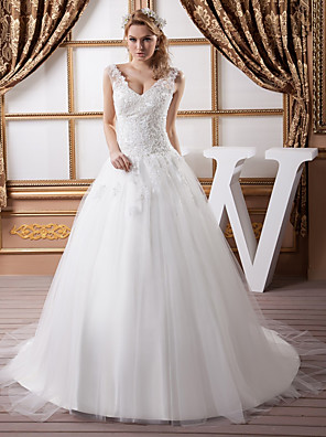 cheap Wedding Dresses-A-Line Wedding Dresses V Neck Court Train Lace Satin Tulle Spaghetti Strap with Beading Draping Appliques 2020