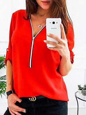 cheap Bras-Women's Shirt Solid Colored Long Sleeve Tops V Neck White Black Red