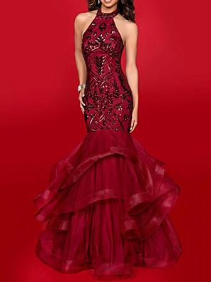 cheap Evening Dresses-Mermaid / Trumpet Elegant Formal Evening Dress Halter Neck Sleeveless Floor Length Tulle with Sequin Cascading Ruffles 2020