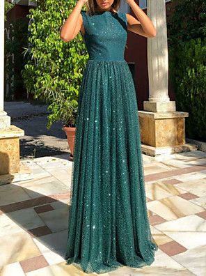 cheap Evening Dresses-A-Line Open Back Prom Dress Boat Neck Sleeveless Floor Length Tulle with Sequin 2020