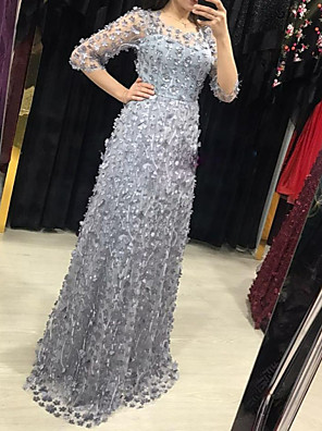 cheap Evening Dresses-A-Line Elegant Formal Evening Dress Jewel Neck 3/4 Length Sleeve Floor Length Lace with Beading Appliques 2020