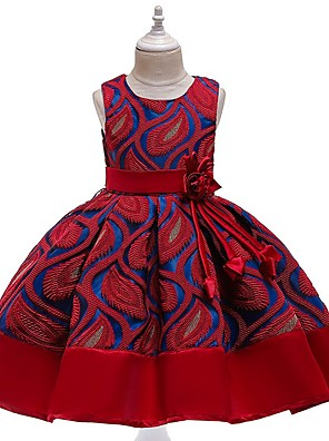 cheap Christening Gowns-Kids Girls' Solid Colored Dress Wine