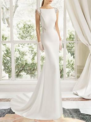 cheap Wedding Dresses-Sheath / Column Wedding Dresses Bateau Neck Court Train Satin Cap Sleeve with Lace Insert 2020