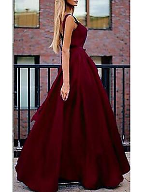 cheap Prom Dresses-Women's Maxi A Line Dress - Sleeveless Solid Colored Strap Elegant Wine Blue Purple Green S M L XL XXL