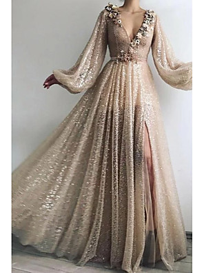 cheap Prom Dresses-A-Line Sparkle Gold Prom Formal Evening Dress V Neck Long Sleeve Floor Length Sequined with Sequin Appliques Split Front 2020