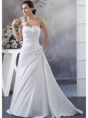 cheap Cocktail Dresses-A-Line Wedding Dresses One Shoulder Court Train Satin Spaghetti Strap with Ruched Beading Side-Draped 2020