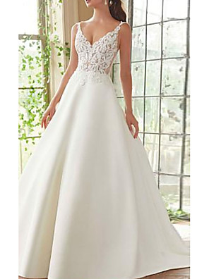 cheap Prom Dresses-A-Line Wedding Dresses V Neck Court Train Lace Satin Spaghetti Strap with Appliques 2020