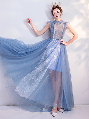 cheap Evening Dresses-A-Line Cute Pastel Colors Prom Dress High Neck Sleeveless Floor Length Tulle with Beading Lace Insert 2020