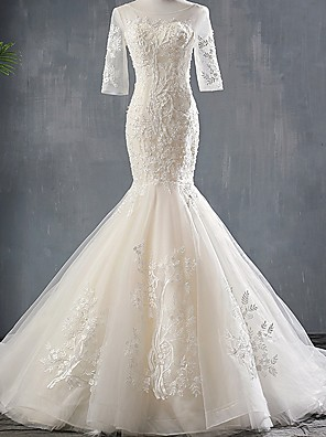 cheap Wedding Dresses-Mermaid / Trumpet Wedding Dresses Jewel Neck Sweep / Brush Train Polyester Half Sleeve with Appliques 2020
