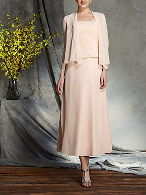 cheap Mother of the Bride Dresses-A-Line Mother of the Bride Dress Wrap Included Spaghetti Strap Tea Length Chiffon 3/4 Length Sleeve with Ruching 2020 Mother of the groom dresses
